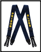 Prison Blues Printed SUSPENDERS leather end