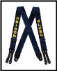 Plus Sized Prison Blues Printed SUSPENDERS leather end