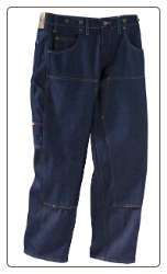 Plus Sized Rinsed Blue DOUBLE KNEE work jean w/ suspender buttons